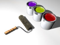 Paint and roller Royalty Free Stock Photos