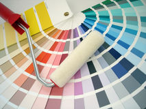 Paint roller. And color samples Royalty Free Stock Photo