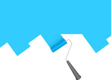 Paint roller. Painting blue over white Royalty Free Stock Image