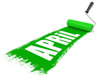 Paint roller with april (clipping path included) Stock Photo