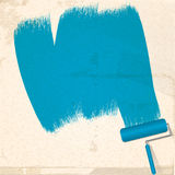 Paint and roller background. Abstract Painted Background with Blue Paint and Roller Royalty Free Stock Image