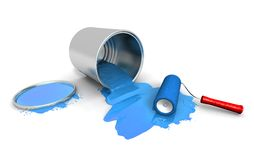 Paint roller, blue can and splashing. 3D render of paint roller, blue can and splashing Stock Photo