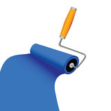 Paint roller with blue trace  illustration Stock Photos