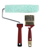Paint roller and brush Stock Photography