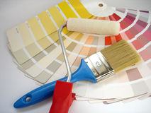 Paint roller and brush. Paint brush and color cards Royalty Free Stock Image