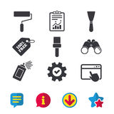 Paint roller, brush icon. Spray can and Spatula. Royalty Free Stock Photography