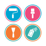 Paint roller, brush icon. Spray can and Spatula. Stock Photography