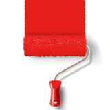 Paint roller brush with red paint track Stock Photo
