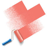Paint roller brush with red paint track Stock Photography