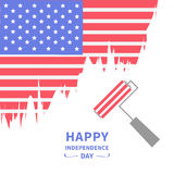 Paint roller brush Star and strip flag  Happy independence day United states of America. 4th of July. Flat design Royalty Free Stock Photo