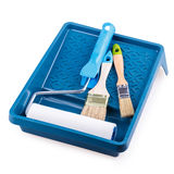 Paint roller brush tray Royalty Free Stock Photo