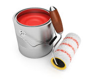 Paint roller and bucket. On white background. 3d render Royalty Free Stock Image