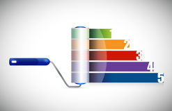 Paint roller business graph illustration design Royalty Free Stock Image