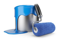Paint roller and can 3D. Painter concept Royalty Free Stock Photo