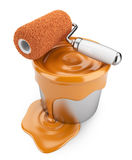Paint roller and can 3D. Painter concept.  Royalty Free Stock Photo
