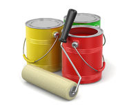 Paint roller and Cans of paint  Royalty Free Stock Images