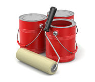 Paint roller and Cans of paint. Paint roller and Cans of paint. Image with clipping path Royalty Free Stock Photo