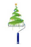 Paint roller and christmas tree illustration. Design over a white background Stock Images