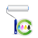 Paint roller and cmyk color cycle illustration Stock Photography