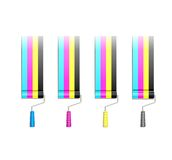 Paint Roller in CMYK Colors Stock Photography