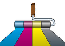 Paint roller CMYK Royalty Free Stock Image
