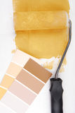 Paint roller and color chart Royalty Free Stock Photos