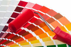 Paint roller and color samples Royalty Free Stock Images