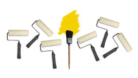 Paint roller  an d brushes isolated Royalty Free Stock Photo