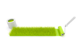 Paint roller draw a grass. Isolated. 3D Stock Images