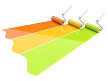 Paint roller draw a palette Stock Photography
