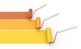 Paint roller draw a palette. Isolated. Royalty Free Stock Photos