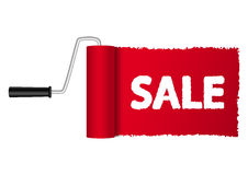 Paint roller. Drawing sale message Royalty Free Stock Images