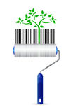 Paint roller and eco upc bar code illustration Stock Image