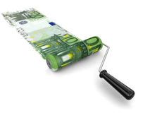 Paint roller and euro (clipping path included) Royalty Free Stock Photos