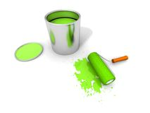 Paint roller, green paint can and splashing. 3D render of paint roller, green can and splashing Royalty Free Stock Image