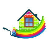 Paint roller home design. Paint roller house design for business Royalty Free Stock Photography