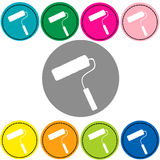 Paint roller icon colorful vector. Roller Stock Photo