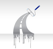 Paint roller ink highway illustration design. Over a white background Stock Photos