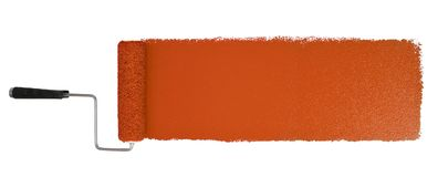 Paint Roller With Logn Orange Stroke. Paint roller with long orange stroke isolated over white - Stitched from two images stock photography