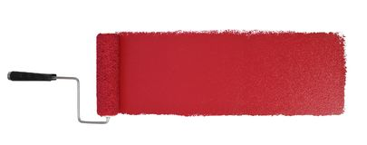 Paint Roller With Logn Red Stroke. Paint roller with long red stroke isolated over white - Stitched from two images stock photo