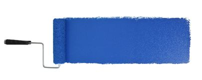 Paint Roller With Logn Blue Stroke. Paint roller with long blue stroke isolated over white - Stitched from two images stock photography