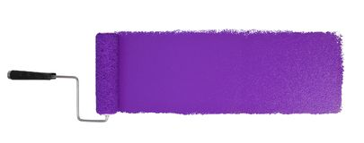Paint Roller With Logn Purple Stroke. Paint roller with long purple stroke isolated over white - Stitched from two images stock photo