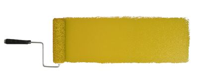 Paint Roller With Logn Yellow Stroke. Paint roller with long yellow stroke isolated over white - Stitched from two images royalty free stock photo
