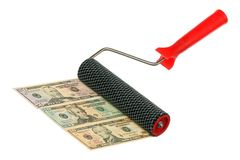 Paint roller and money Stock Photography