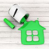 Paint Roller near Green Paint Pouring from Paint Can in House Si Stock Photography