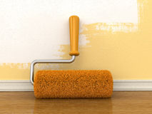 Paint roller near wall Royalty Free Stock Photo