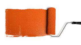 Paint Roller With Orange Paint Stock Photography
