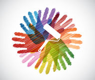Paint roller over diversity hands circle Royalty Free Stock Photo