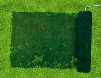 Paint roller over grass Royalty Free Stock Image