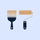 Paint roller and paint brush vector icon. Color illustration paint roller and paint brush vector icon Royalty Free Stock Photography
